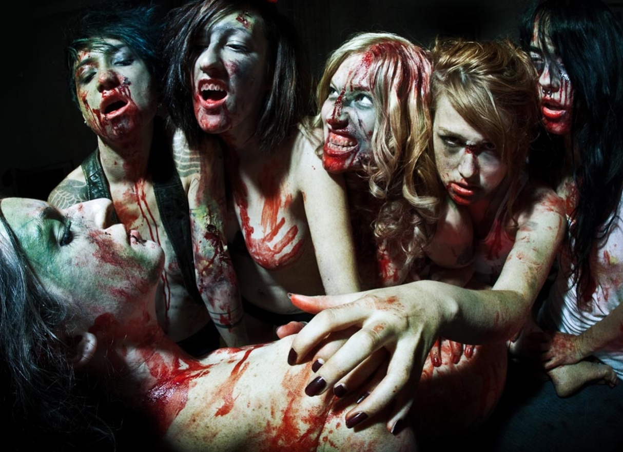 Naked zombies in blood naked girls