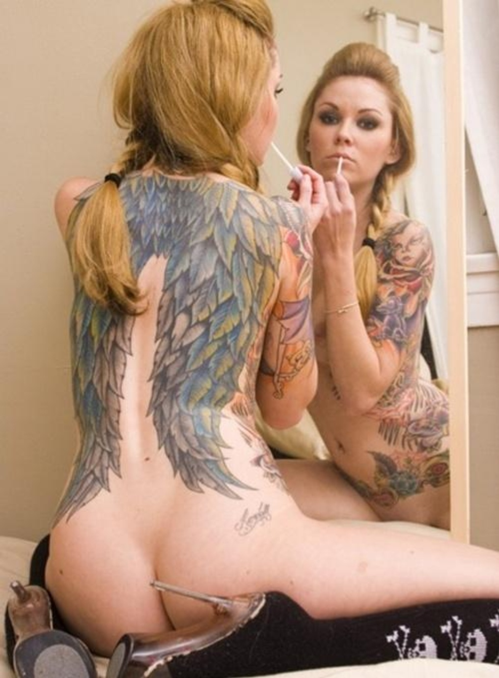 And pornstar angel wings tattoo makes cum deer